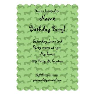Cute bright green dachshund pattern personalized invite