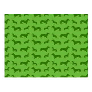 Cute bright green dachshund pattern post cards