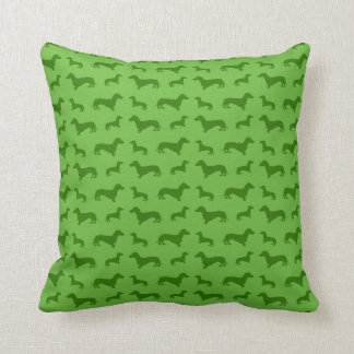 Cute bright green dachshund pattern throw pillow