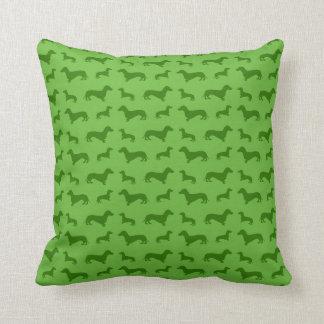 Cute bright green dachshund pattern throw pillow