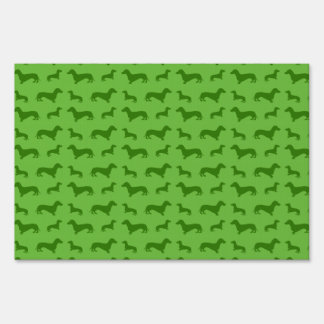 Cute bright green dachshund pattern lawn sign