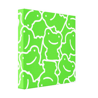 Cute Bright Green Frogs Whimsical Froggy Art Stretched Canvas Prints