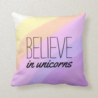 cute bright neon brushstrokes unicorn colors throw pillow
