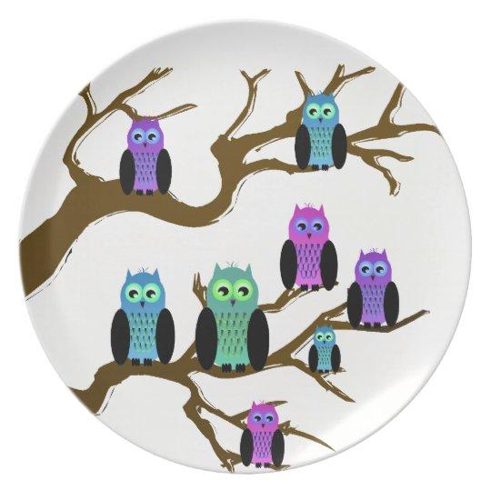 Cute Bright Owls Melamine Plate