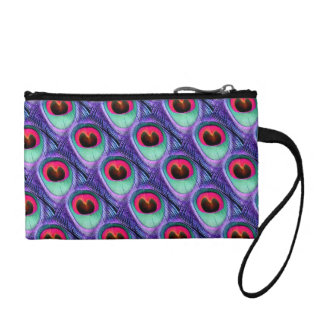 Cute Bright Pink and Purple Peacock feathers Coin Purse