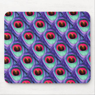 Cute Bright Pink and Purple Peacock feathers Mousepads