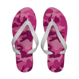 Cute Bright Pink Camo, Camouflage Flip Flops