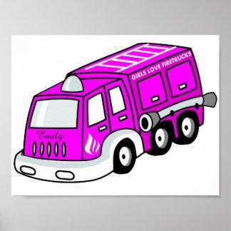 Cute Bright Pink Girls Firetruck Design Poster