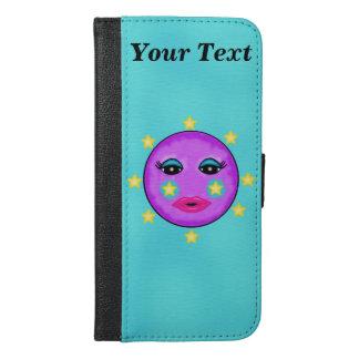 Cute Bright Purple Moon Face Golden Stars iPhone 6/6s Plus Wallet Case
