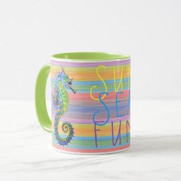 Beach Themed Cute Bright Sunset Colors Artsy Seahorse Mug