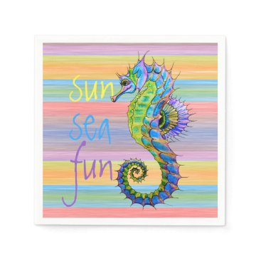 Beach Themed Cute Bright Sunset Colors Artsy Seahorse Napkin