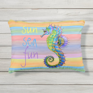 Cute Bright Sunset Colors Artsy Seahorse Outdoor Pillow