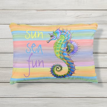 Beach Themed Cute Bright Sunset Colors Artsy Seahorse Outdoor Pillow