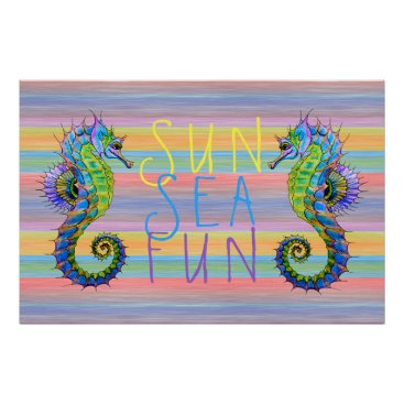 Beach Themed Cute Bright Sunset Colors Artsy Seahorse Poster