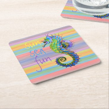 Beach Themed Cute Bright Sunset Colors Artsy Seahorse Square Paper Coaster