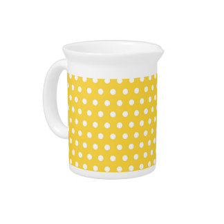 Cute Bright Yellow and White Polka Dots Drink Pitcher