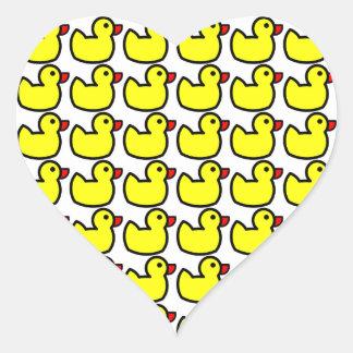 Cute Bright Yellow Rubber Ducky Pattern Heart Sticker