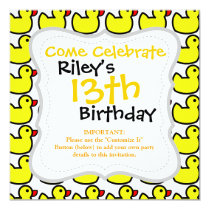 Cute Bright Yellow Rubber Ducky Pattern Invitation
