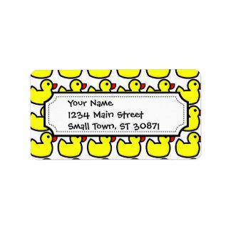 Cute Bright Yellow Rubber Ducky Pattern Custom Address Label
