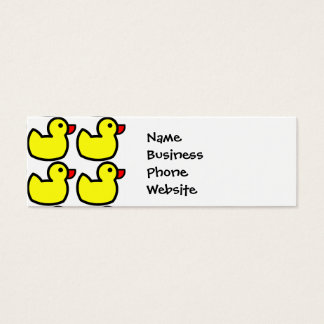Cute Bright Yellow Rubber Ducky Pattern Mini Business Card