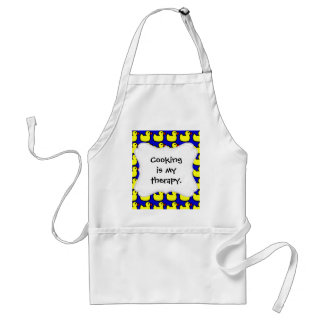 Cute Bright Yellow Rubber Ducky Pattern on Blue Adult Apron