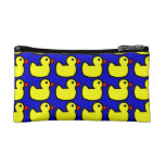 Cute Bright Yellow Rubber Ducky Pattern on Blue Makeup Bags