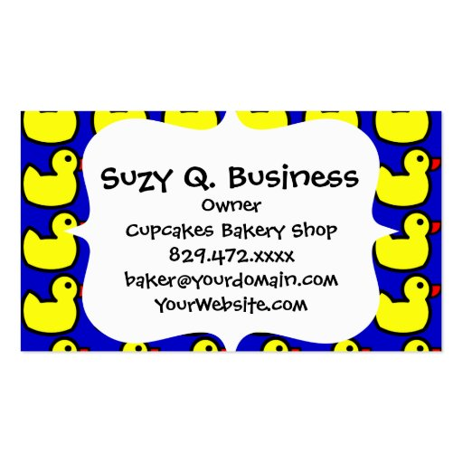 Cute Bright Yellow Rubber Ducky Pattern on Blue Business Card