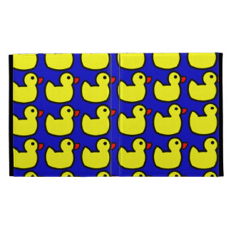 Cute Bright Yellow Rubber Ducky Pattern on Blue iPad Cases