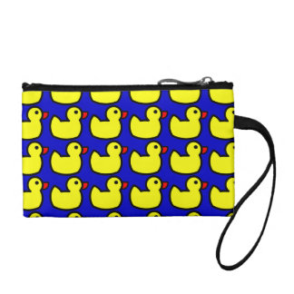 Cute Bright Yellow Rubber Ducky Pattern on Blue Coin Purse