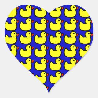 Cute Bright Yellow Rubber Ducky Pattern on Blue Heart Sticker