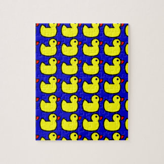 Cute Bright Yellow Rubber Ducky Pattern on Blue Jigsaw Puzzle