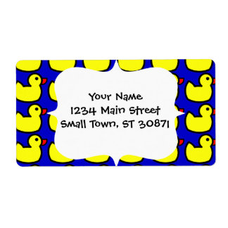 Cute Bright Yellow Rubber Ducky Pattern on Blue Shipping Labels