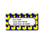 Cute Bright Yellow Rubber Ducky Pattern on Blue Custom Address Label