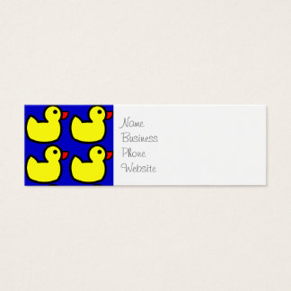 Cute Bright Yellow Rubber Ducky Pattern on Blue Mini Business Card