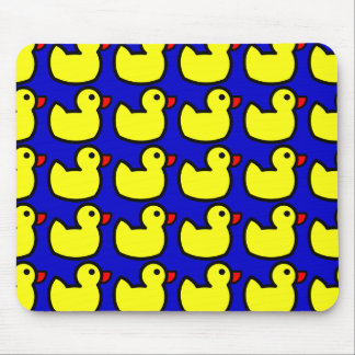 Cute Bright Yellow Rubber Ducky Pattern on Blue Mouse Pad