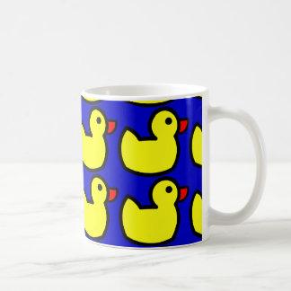 Cute Bright Yellow Rubber Ducky Pattern on Blue Coffee Mugs