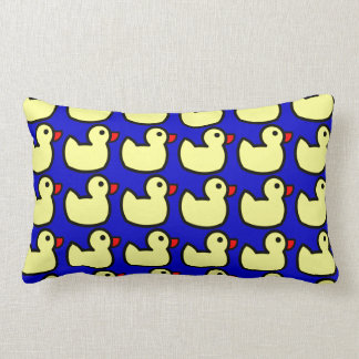 Cute Bright Yellow Rubber Ducky Pattern on Blue Pillow