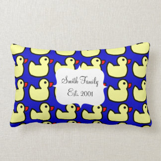 Cute Bright Yellow Rubber Ducky Pattern on Blue Throw Pillows