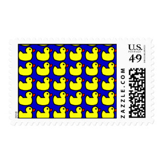 Cute Bright Yellow Rubber Ducky Pattern on Blue Postage
