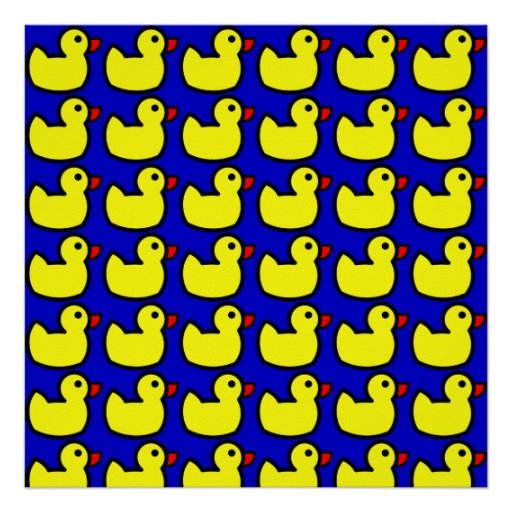 Cute Bright Yellow Rubber Ducky Pattern on Blue Poster