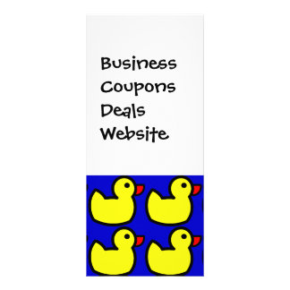 Cute Bright Yellow Rubber Ducky Pattern on Blue Rack Card