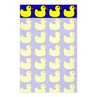 Cute Bright Yellow Rubber Ducky Pattern on Blue Customized Stationery