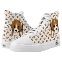 Cute Brindle Color Beagle Puppy Dog Cartoon High-Top Sneakers