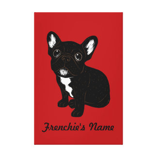 Cute Brindle Frenchie Puppy (Custom Name) Canvas Print
