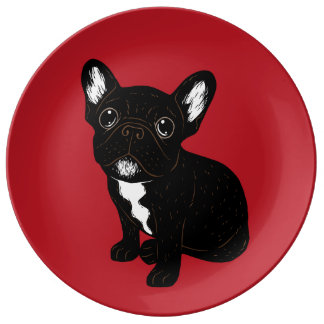 Cute Brindle Frenchie Puppy Dinner Plate