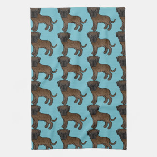 Cute Brindle Old English Mastiff Dogs Pattern Towel