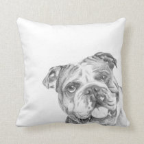 Cute British Bulldog cushion by Tracy Stone