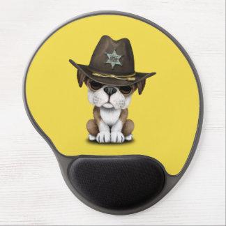 Cute British Bulldog Puppy Sheriff Gel Mouse Pad