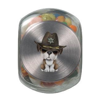 Cute British Bulldog Puppy Sheriff Jelly Belly Candy Jars