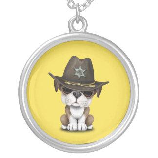 Cute British Bulldog Puppy Sheriff Silver Plated Necklace